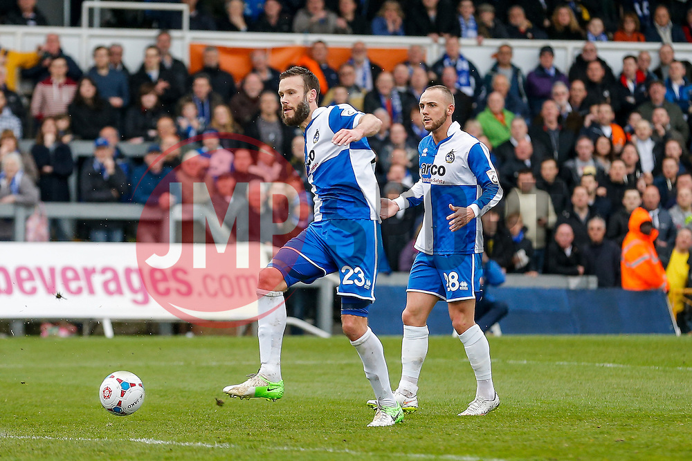Andy Monkhouse of Bristol Rovers scores a goal to make it 3-0  - Photo mandatory by-line: Rogan Thomson/JMP - 07966 386802 - 03/04/2015 - SPORT - FOOTBALL - Bristol, England - Memorial Stadium - Bristol Rovers v Chester - Vanarama Conference Premier.