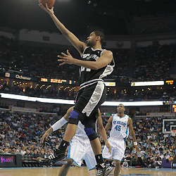 29 March 2009: San Antonio Spurs center Tim Duncan (21) shoots during a 90-86 victory by the New Orleans Hornets over Southwestern Division rivals the San Antonio Spurs at the New Orleans Arena in New Orleans, Louisiana.