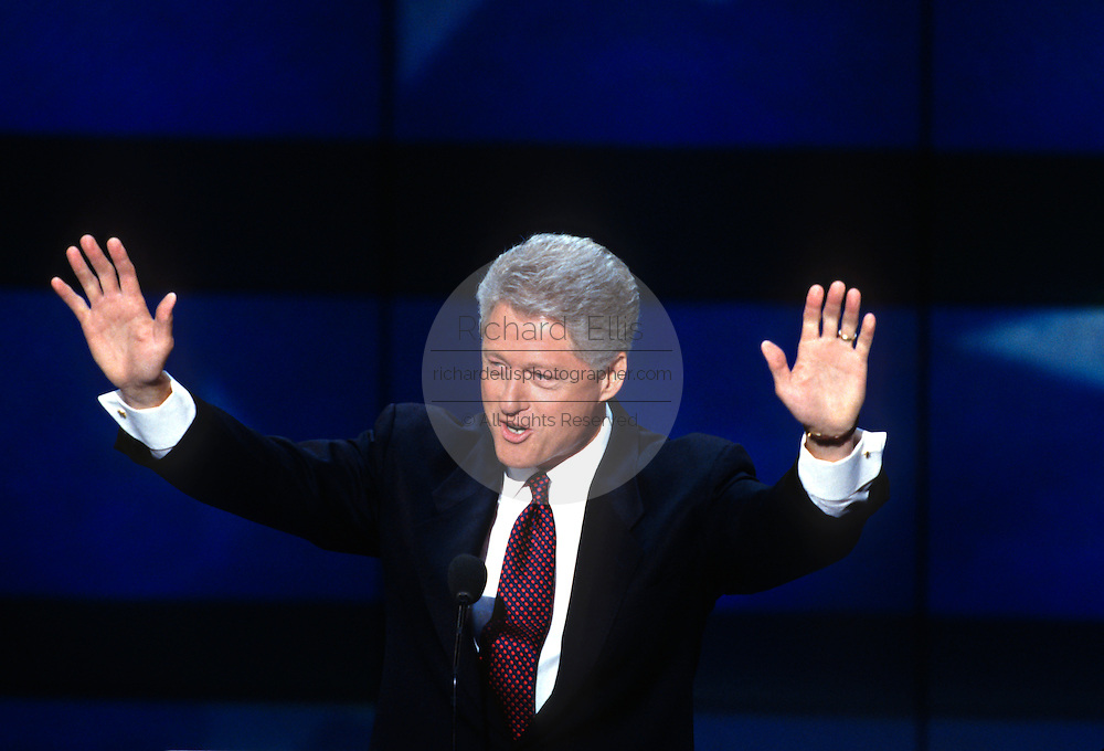 U.S President Bill Clinton speaks to supporters as he accepts the nomination for the democrat party at the 1996 Democratic National Convention August 29, 1996 in Chicago, IL.