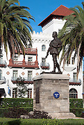 Statue of Pedro Menendez de Aviles located in the Lightner Museum/St. Augustine City Hall courtyard in St. Augustine, Florida/