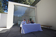 "13th Biennale of Architecture..Giardini..Austrian Pavillion..Wolfgang Tschapeller, Rens Veltman, Martin Perktold, ""hands have no tears to flow..."", 2012..Press conference with from l.: Artist Wolfgang Tschapeller, Minister of Culture Claudia Schmied, Comissioner Arno Ritter."