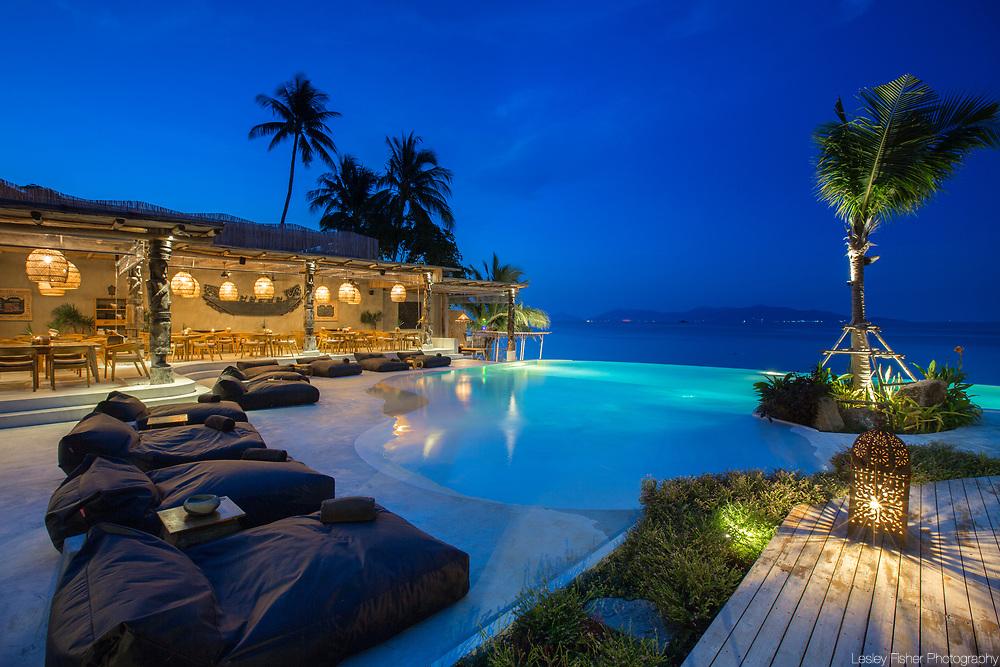 Swimming pool & View at Karma Beach Resort, a unique resort located on Bophut Beach, Koh Samui, Thailand