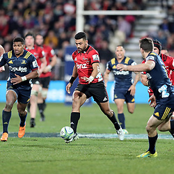 Richie Mo'unga chips ahead during the Super Rugby match between the Crusaders and Highlanders at Wyatt Crockett Stadium in Christchurch, New Zealand on Friday, 06 July 2018. Photo: Martin Hunter / lintottphoto.co.nz