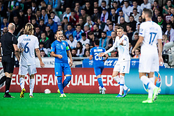 Luka Stor of NK Aluminij and Bibras Natcho of Israel during the 2020 UEFA European Championships group G qualifying match between Slovenia and Israel at SRC Stozice on September 9, 2019 in Ljubljana, Slovenia. Photo by Grega Valancic / Sportida