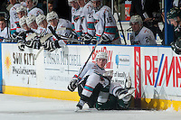 KELOWNA, CANADA - JANUARY 08: Lucas Johansen #7 of Kelowna Rockets checks a player of the Everett Silvertips to the ice during first period on January 8, 2016 at Prospera Place in Kelowna, British Columbia, Canada.  (Photo by Marissa Baecker/Shoot the Breeze)  *** Local Caption *** Lucas Johansen;