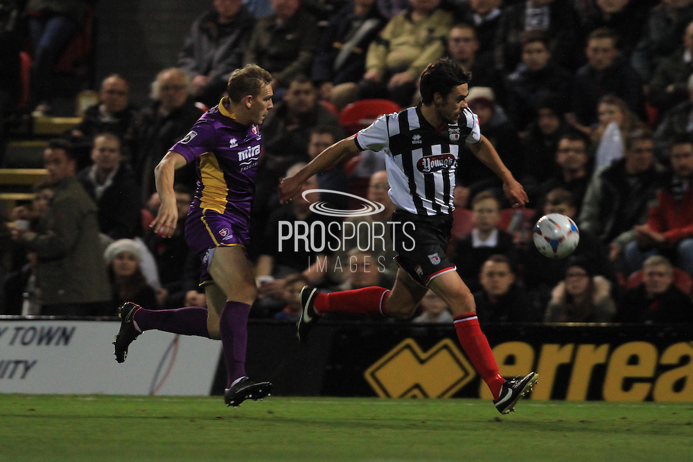 Danny Wright and Shaun Pearson during the Vanarama National League match between Grimsby Town FC and Cheltenham Town at Blundell Park, Grimsby, United Kingdom on 30 October 2015. Photo by Antony Thompson.