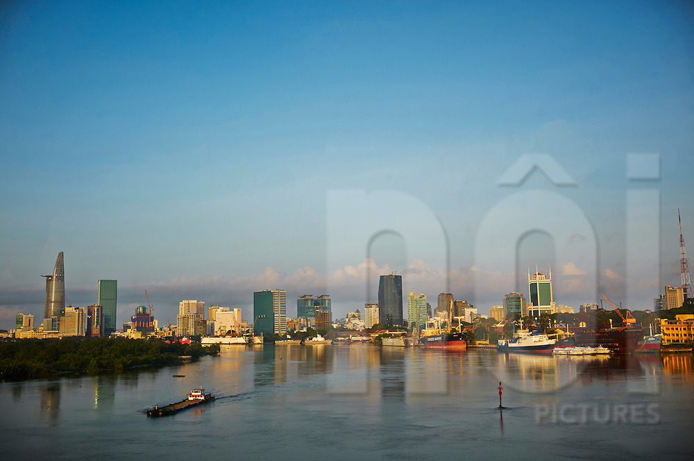 Skyline of Ho Chi Minh city over the Saigon river, Vietnam, Southeast Asia