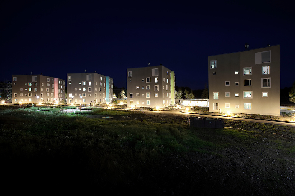 Viikki HOAS student housing in Helsinki, Finland designed by Playa architects. Architectural photography by Tuomas Uusheimo.