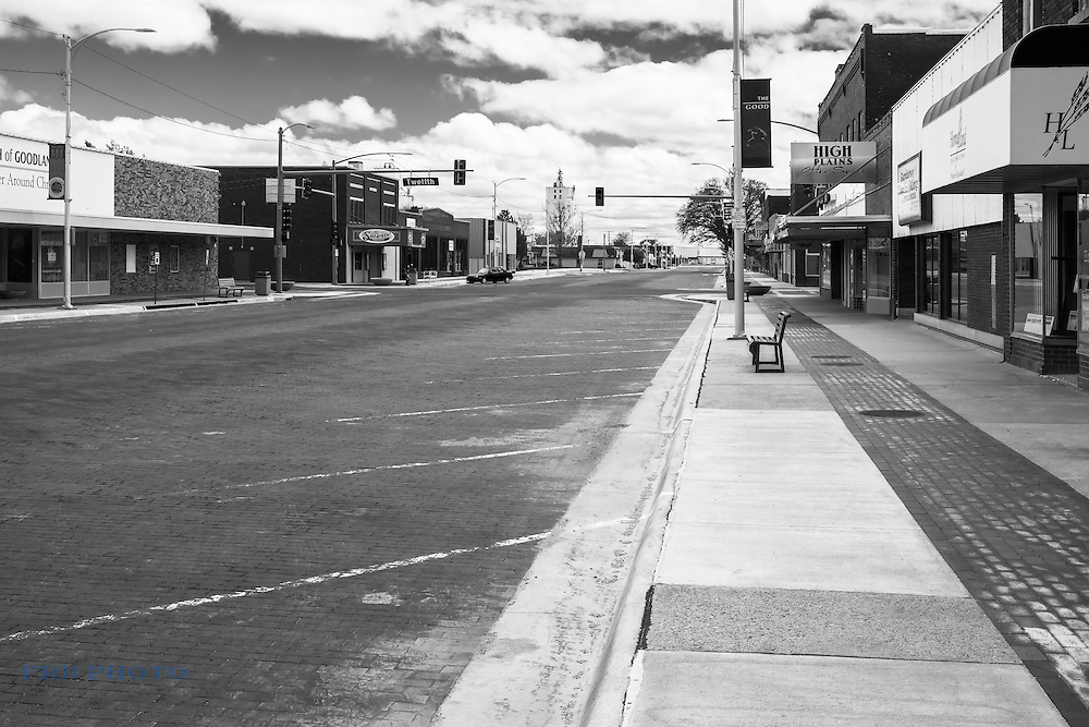 Noontime on Main Street of Goodland, Kansas in May, 2015