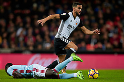 December 9, 2017 - Valencia, Valencia, Spain - Montoya (R) of Valencia CF competes for the ball with Pione Sisto of Real Club Celta de Vigo during the La Liga game between Valencia CF and Real Club Celta de Vigo at Mestalla on December 9, 2017 in Valencia, Spain  (Credit Image: © David Aliaga/NurPhoto via ZUMA Press)