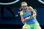 MELBOURNE, VIC - JANUARY 15: Jelena Ostapenko of Latvia plays a shot during the 2018 Australian Open on January 15, 2018, at Margaret Court Area in Melbourne, Australia.(Photo by Jason Heidrich/Icon Sportswire)MELBOURNE, VIC - JANUARY 15: