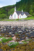 Church of Scotland christian kirk by Loch Linnhe at Kingairloch in the Western Highlands of Scotland