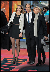 Alexandre Desplat and Dominique Lemonnier and their daughter <br /> attends the  Godzilla European premiere at the Odeon cinema in Leicester Square central London, United Kingdom. Sunday, 11th May 2014. Picture by Andrew Parsons / i-Images