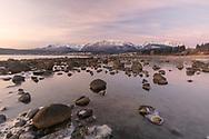 Sunrise at Haines in Southeast Alaska. Winter.