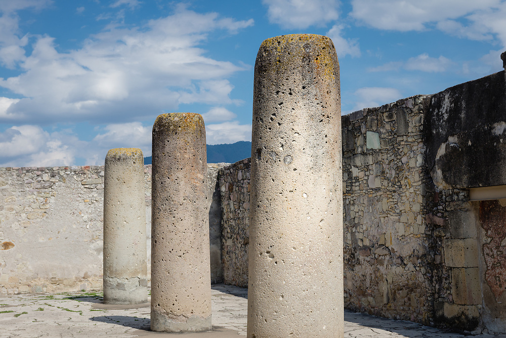 Stone columns in a central courtyard at Mitla archeological site