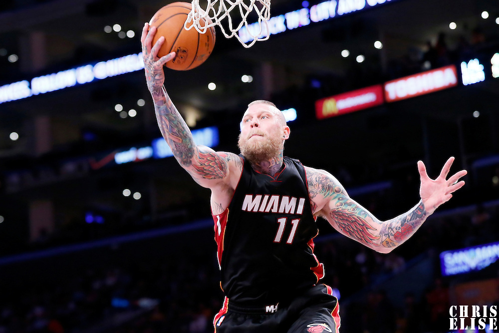 13 January 2014: Miami Heat forward Chris Andersen (11) grabs the rebound during the Miami Heat 78-75 victory over the Los Angeles Lakers, at the Staples Center, Los Angeles, California, USA.