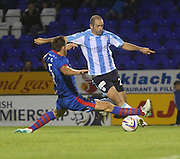 Dundee's Gary Harkins jinks past Inverness Caledonian Thistle's Gary Warren - Inverness Caledonian Thistle v Dundee, SPFL Premiership at Tulloch Caledonian Stadium<br /> <br />  - &copy; David Young - www.davidyoungphoto.co.uk - email: davidyoungphoto@gmail.com