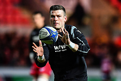 Scarlets' Scott Williams during the pre match warm up<br /> <br /> Photographer Craig Thomas/Replay Images<br /> <br /> European Rugby Champions Cup Round 5 - Scarlets v Toulon - Saturday 20th January 2018 - Parc Y Scarlets - Llanelli<br /> <br /> World Copyright © Replay Images . All rights reserved. info@replayimages.co.uk - http://replayimages.co.uk