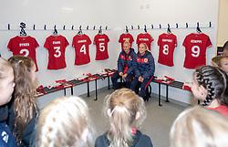 Danique Kerkdijk and Poppy Pattinson of Bristol City Women meet young players from Gloucester City - Mandatory by-line: Paul Knight/JMP - 17/11/2018 - FOOTBALL - Stoke Gifford Stadium - Bristol, England - Bristol City Women v Liverpool Women - FA Women's Super League 1