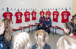 Danique Kerkdijk and Poppy Pattinson of Bristol City Women meet young players from Gloucester City - Mandatory by-line: Paul Knight/JMP - 17/11/2018 - FOOTBALL - Stoke Gifford Stadium - Bristol, England - Bristol City Women v Liverpool Women - FA Women's Super League 1