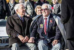 "Surviving ""Guinea pig club"" members Alan Morgan (right) and Douglas Vince wait for the ceremony to unveil a new memorial to those airmen saved after being burned in their aircraft at the National Memorial Arboretum, Staffordshire."