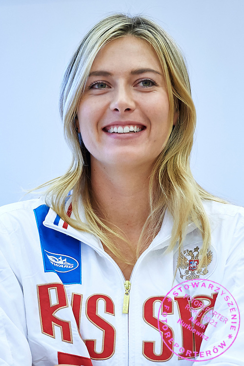 Maria Sharapova from Russia during official draw one day before the Fed Cup / World Group 1st round tennis match between Poland and Russia at Holiday Inn on February 6, 2015 in Cracow, Poland.<br /> <br /> Poland, Cracow, February 6, 2015<br /> <br /> Picture also available in RAW (NEF) or TIFF format on special request.<br /> <br /> For editorial use only. Any commercial or promotional use requires permission.<br /> <br /> Adam Nurkiewicz declares that he has no rights to the image of people at the photographs of his authorship.<br /> <br /> Mandatory credit:<br /> Photo by &copy; Adam Nurkiewicz / Mediasport