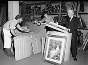 National Gallery preparing Paintings for Shipment to US 28/09/1976.09/28/1976.28th September 1976.Picture of National Gallery Staff preparing paintings for shipment to the United States.