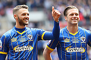 Callum Kennedy defender for AFC Wimbledon (3) and Dannie Bulman midfielder of AFC Wimbledon (4) before the Sky Bet League 2 play off final match between AFC Wimbledon and Plymouth Argyle at Wembley Stadium, London, England on 30 May 2016. Photo by Stuart Butcher.