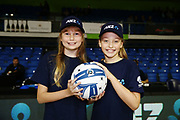 ANZ Future Captains Tallulah Brew aged 10 and Ruby Peacock aged 11 pose for a photo prior to the match. 2018 ANZ Premiership netball match, Mystics v Tactix at The Trusts Arena, Auckland, New Zealand. 9 May 2018 © Copyright Photo: Anthony Au-Yeung / www.photosport.nz