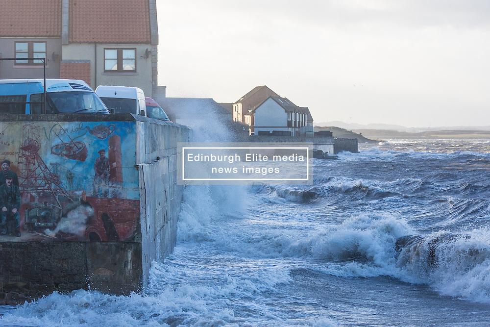 Stormy weather in East Lothian 11 January 2017; waves crash on the shoreline at Prestonpans.<br /> <br /> (c) Chris McCluskie | Edinburgh Elite media