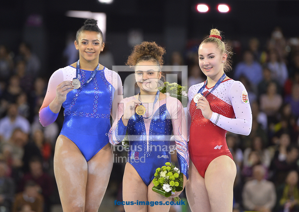 Elissa Downie(GBR) wins the silver medal, Coline Devillard(FRA) wins the golden medal and Boglarka Devai(HUN) wins the bronze medal on the vault on day four of the Petrom European Men's and Women's Artistic Gymnastics Individual Championships at Polyvalent Hall, Cluj-Napoca, Romania<br /> Picture by Raphael Serres/Focus Images Ltd +40 7445 88839<br /> 22/04/2017