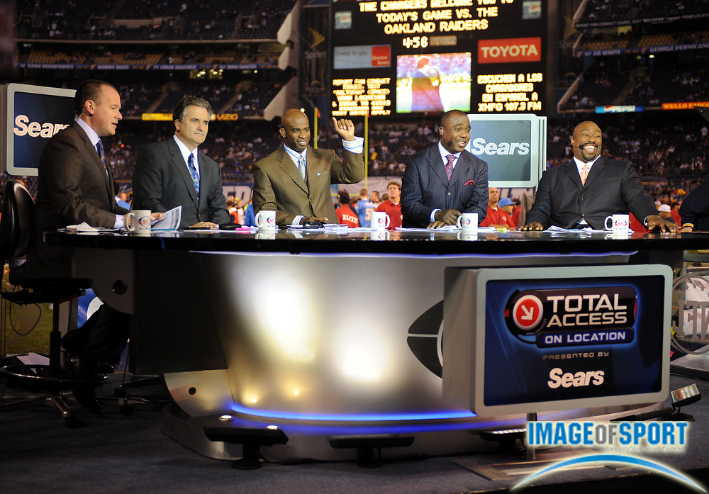 Dec 4, 2008; San Diego, CA, USA; The NFL Network Total Access show before the game between the Oakland Raiders and San Diego Chargers at Qualcomm Stadium. From left: Rich Eisen, Stave Mariucci, Deion Sanders, Marshall Faulk and Warren Sapp.