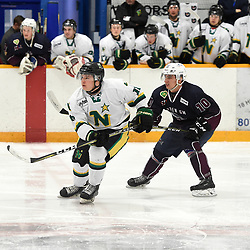 DRYDEN, ON - MAY 3: Alex Maticic #10 of the Thunder Bay North Stars and Malcolm Huemmert #10 of the Dryden GM Ice Dogs pursue the play in the first period during Game Six of the Central Canadian Junior Championship during the 2018 Dudley Hewitt Cup on May 3, 2018 at the Dryden Memorial Arena in Dryden, Ontario, Canada. (Photo by Andy Corneau/DHC via OJHL Images)