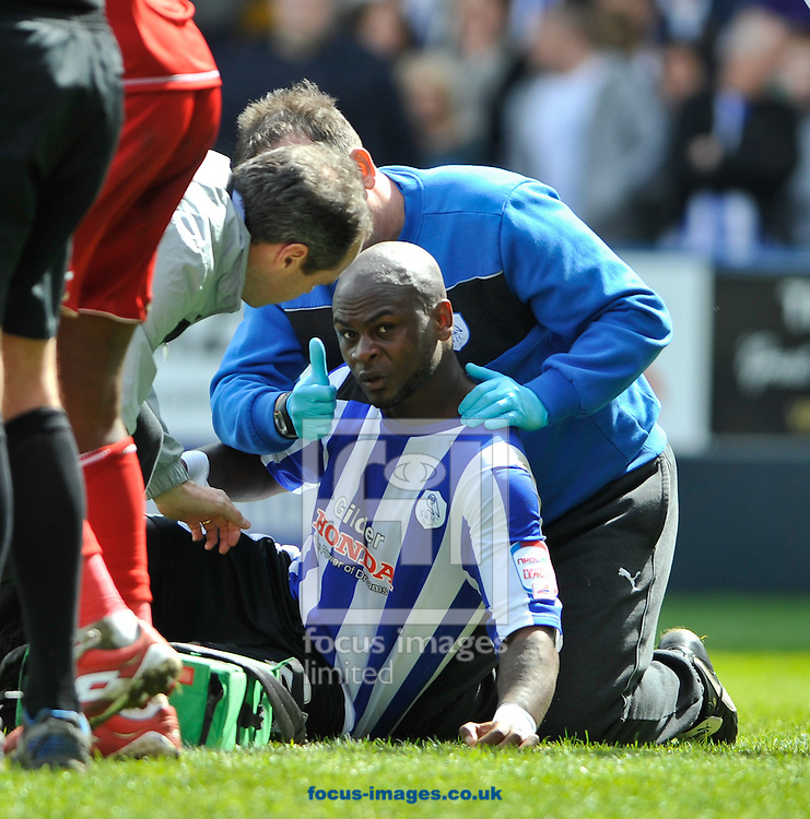 Picture by Richard Land/Focus Images Ltd +44 7713 507003.04/05/2013.Leroy Lita of Sheffield Wednesday is injured after a head clash during the npower Championship match at Hillsborough, Sheffield.