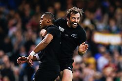 New Zealand Winger Waisake Naholo celebrates with Outside Centre Conrad Smith after scoring the first try of the match - Mandatory byline: Rogan Thomson/JMP - 07966 386802 - 02/10/2015 - RUGBY UNION - Millennium Stadium - Cardiff, Wales - New Zealand v Georgia - Rugby World Cup 2015 Pool C.