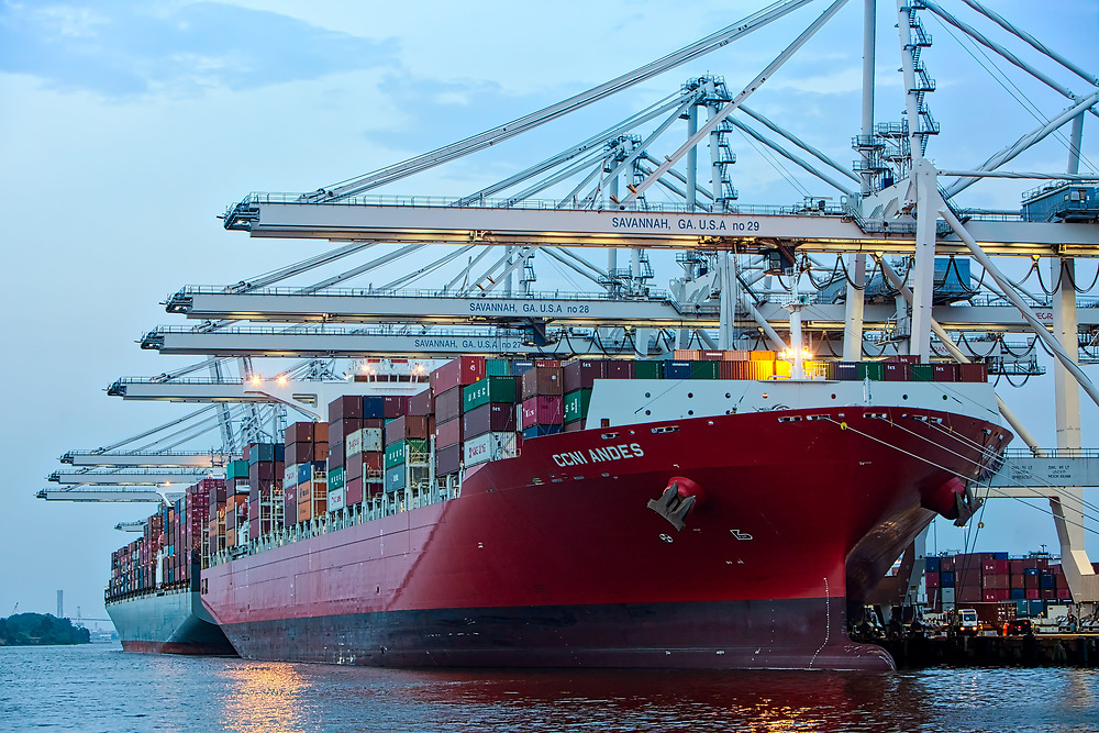 Post-Panamax ship to shore cranes work cargo import and export at the Georgia Ports Authority Port of Savannah at the Garden City Terminal, Wednesday, July 5, 2017, in Garden City, Ga.  (GPA Photo/Stephen B. Morton)
