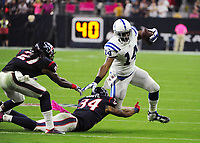 October 9th, 2014: Indianapolis Colts Wide Receiver Hakeem Nicks (14) runs after the catch during the Thursday Night Football game Houston Texans vs Indianapolis Colts at NRG Stadium in Houston, TX. NFL American Football Herren USA OCT 09 Colts at Texans PUBLICATIONxINxGERxSUIxAUTxHUNxRUSxSWExNORxONLY Icon14100907<br />