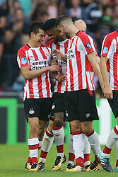 (L-R) Hirving Lozano of PSV, Jurgen Locadia of PSV, Gaston Pereiro of PSV during the Dutch Eredivisie match between PSV Eindhoven and AZ Alkmaar at the Phillips stadium on August 12, 2017 in Eindhoven, The Netherlands