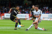 Kwesi Appiah (9) of AFC Wimbledon has his shot blocked during the Pre-Season Friendly match between Aldershot Town and AFC Wimbledon at the EBB Stadium, Aldershot, England on 28 July 2017. Photo by Graham Hunt.