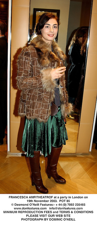 FRANCESCA AMFITHEATROF at a party in London on 19th November 2003.<br /> POT 85