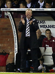 Derby County Manger, Steve McClaren makes a very late appearance on the bench and applauds his players to victory-Photo mandatory by-line: Matt Bunn/JMP - Tel: Mobile: 07966 386802 02/11/2013 - SPORT - FOOTBALL - Elland Road - Leeds - Leeds United v Yeovil Town - Sky Bet Championship - Photo mandatory by-line: Matt Bunn/JMP - Tel: Mobile: 07966 386802 09/11/2013 - SPORT - FOOTBALL - Pride Park - Derby - Derby County v Sheffield Wednesday - Sky Bet Championship
