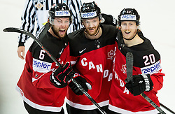 Jake Muzzin of Canada, Sean Couturier of Canada and Cody Eakin of Canada celebrate after scoring first goal for Canada during Ice Hockey match between Canada and Russia at Final game of 2015 IIHF World Championship, on May 17, 2015 in O2 Arena, Prague, Czech Republic. Photo by Vid Ponikvar / Sportida
