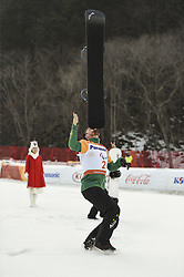 PYEONGCHANG, March 12, 2018  Simon Patmore from Australia celebrates during the awarding ceremony for the Men's Snowboard Cross SB-UL event of the 2018 PyeongChang Winter Paralympic Games at Jeongseon Alpine Centre, South Korea, March 12, 2018. Simon Patmore claimed the title of the event. (Credit Image: © Xia Yifang/Xinhua via ZUMA Wire)
