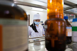 """A scientist of the National Institute of Nutrition conducts lab work in the Department of """"Micronutrients"""" in  Hanoi, Vietnam, Southeast Asia"""