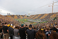 October 6 2013: The Iowa Hawkeyes take the field for their homecoming game against the Michigan State Spartans at Kinnick Stadium in Iowa City, Iowa on October 6, 2013. Michigan State defeated Iowa 26-14.