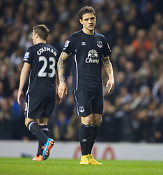 LONDON, ENGLAND - Sunday, November 30, 2014: Everton's Muhamed Besic looks dejected as Tottenham Hotspur score the first equalising goal during the Premier League match at White Hart Lane. (Pic by David Rawcliffe/Propaganda)