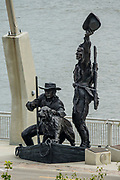 """""""The Captains' Return"""" statue (by Harry Weber 2006) commemorates the arrival of the Lewis and Clark Expedition at this exact location on the St. Louis riverfront (Mississippi River) on September 23, 1806, two years after setting out to explore westward to the Pacific coast."""