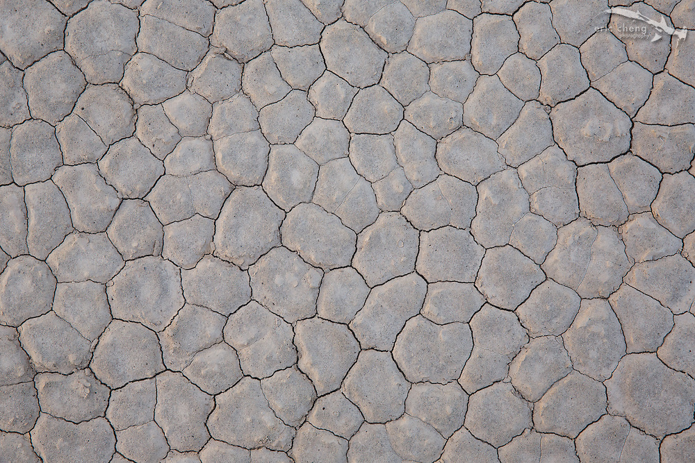 Geometric patterns on the ground at the Racetrack in Death Valley, California