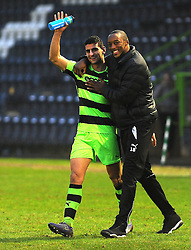 New signing Omar Bugiel of Forest Green Rovers celebrates after the final whistle - Mandatory by-line: Nizaam Jones/JMP - 11/02/2017 - FOOTBALL - New Lawn Stadium - Nailsworth, England - Forest Green Rovers v Boreham Wood - Vanarama National League