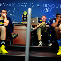 ANN ARBOR, MICHIGAN -- February 5, 2013 -- University of Michigan head coach John Beilein goes through one of many film sessions as they prepare to take on rival Ohio State University in Ann Arbor, Michigan.  The Wolverines won 76-74 in overtime.   (PHOTO / CHIP LITHERLAND)